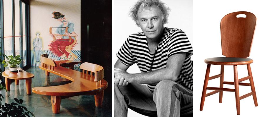 Mobiliário de Carlos Motta na década de 80, Banco S feito para o Sesc Pompéia e cadeira São Paulo