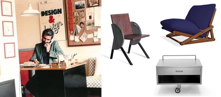 Fulvio Nanni Jr. e parte de suas criações: a cadeira Raio 23, a poltrona Sand e o criado mudo Tridzio