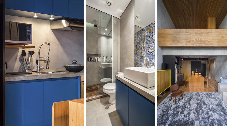 Armários da cozinha e do banheiro com o acabamento azul da Sayerlack do projeto Cobre/Blue , da Casa 100 Arquitetura
