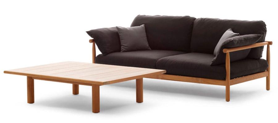 TIBBO, mobiliário de jardim da DEDON, chama atenção pelas proporções, simplicidade do desenho e valorização da madeira de teca