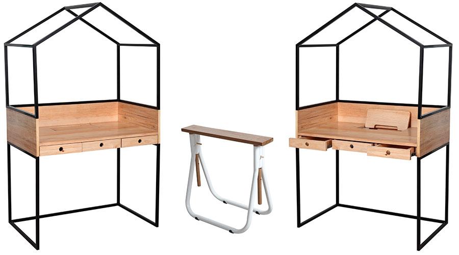 Prêmio Salão Design 2017. Escrivaninha Sobradinho e Cavalete Dobra - design de Felipe de Carvalho Madeira (UFRJ)