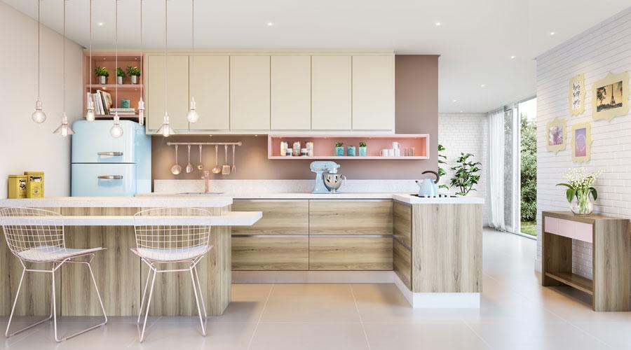 Projeto de cozinha traz a tendência HiChic com os painéis BP Elmo Macciato e Lacca Cetin nos padrões Rosa e Champagne, da Eucatex
