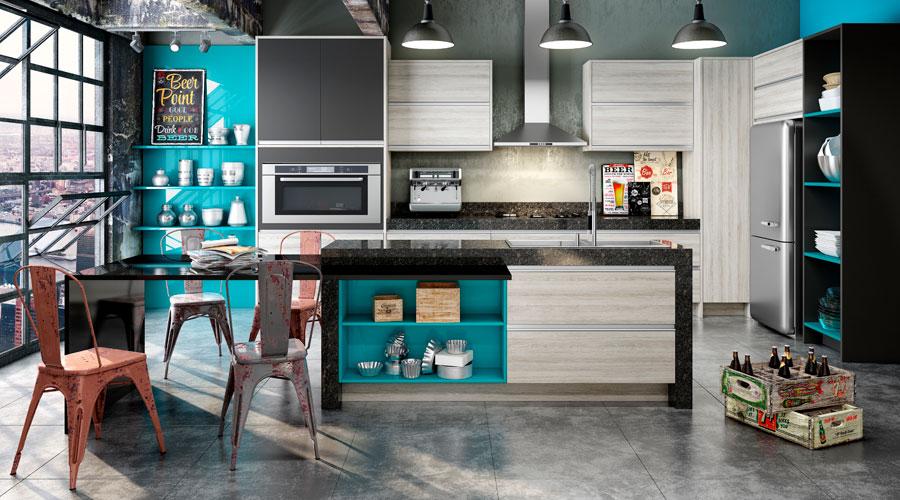 Proposta de cozinha industrial com os painéis MDF Eucafibra BP Natural Wood Kalahari, além do Lacca AD Acquamarina e do Lacca Cetin com o padrão Grafite Intenso