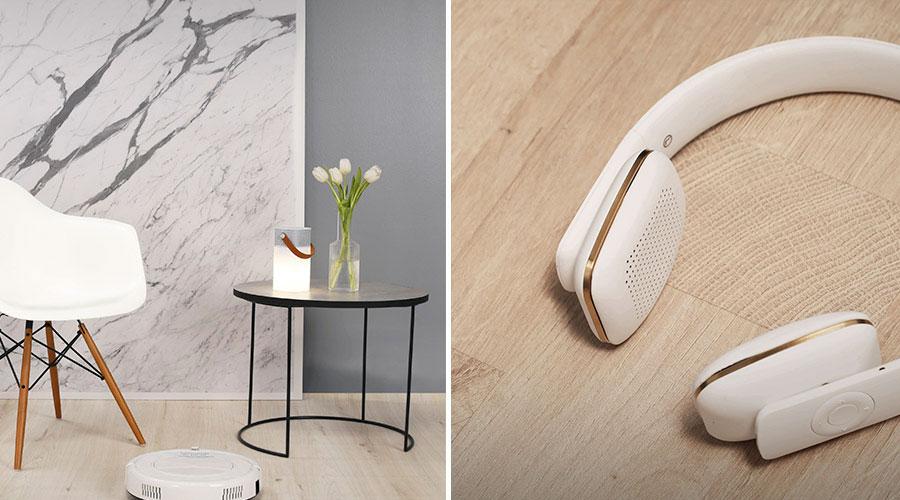 Trendbook Schattdecor - SMART HOME. As madeiras claras também estão presentes, mas ganham a companhia de texturas em pedras sofisticadas e tecidos em tonalidade acinzentadas