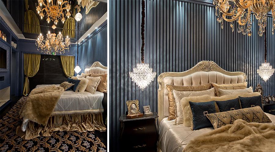 Suíte Master (batizada de Sweet Hot) aposta no luxo e nas cores. O ambiente traz decoração clássica, com acabamentos dourados, espelhos e painéis BP Azul Vel