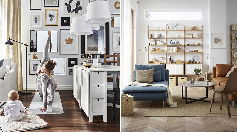 A sala de estar é um lugar para tudo. Do sono a prática de yoga, para comer e brincar, ou para noites de cinema e festas animadas