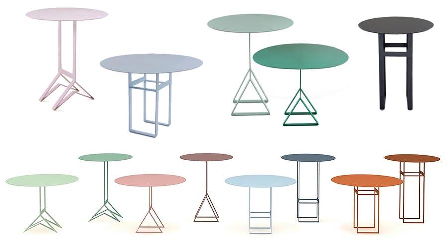 A família de mesas laterais Aka Collection foi criada para a marca norueguesa Hus & Dimora, e exposta na MADE