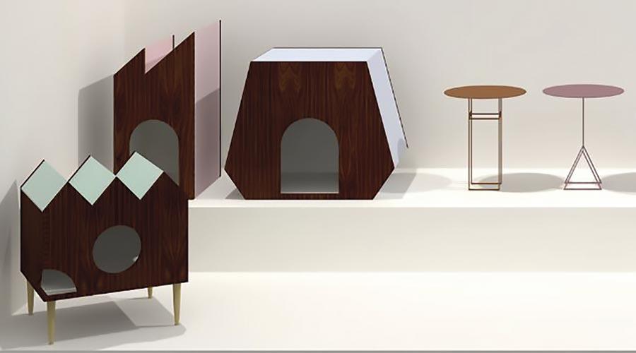 A combinação de madeira, acabamentos de pintura e formas geométricas também é um atrativo da coleção Casa para Pets do designer Leo di Caprio na MADE