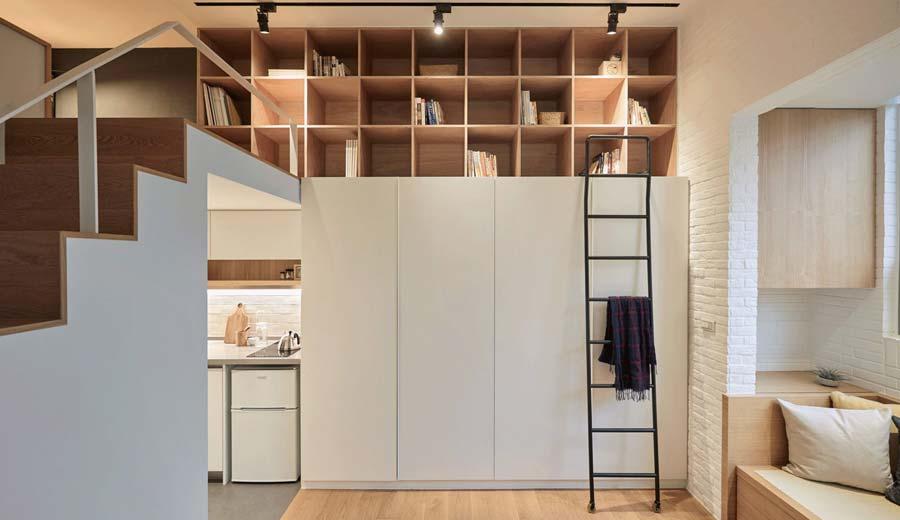 Apartamento mede 22 m² e apresenta 3,3 m de altura. Projeto em Taiwan é do escritório A Little Design