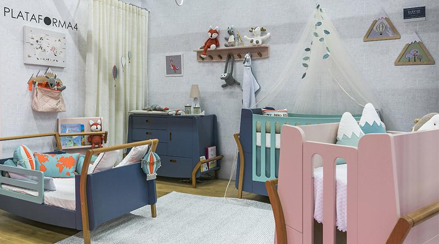 Os itens da linha NAU, com design da Plataforma4, forma mini berço, berço e mini cama, acompanhando todo o desenvolvimento da criança