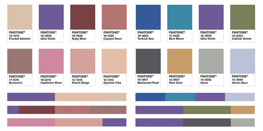 Para auxiliar os profissionais a experimentar a cor do ano em seus projetos, a Pantone criou 8 paletas de cores em harmonia com Ultra Violet