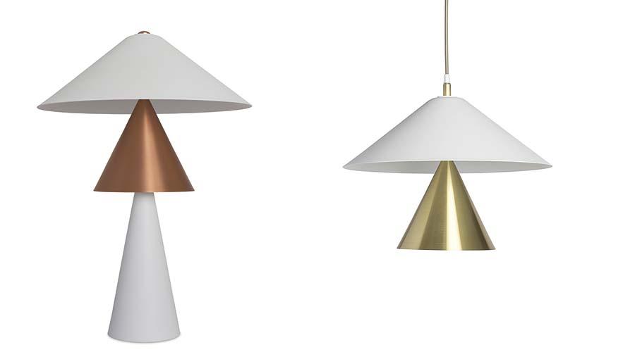 Coleção Shangai, de Ana Neute, é formada por luminárias de mesa, piso e arandela que consistem em cones brancos, em alumínio, e dourado, em latão escovado