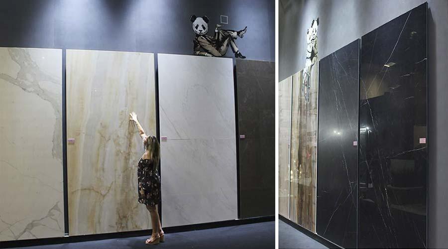 O mármore também esteve presente nos lançamentos da italiana Fiandra. No Brasil, a marca é representada pela Level Acabamentos
