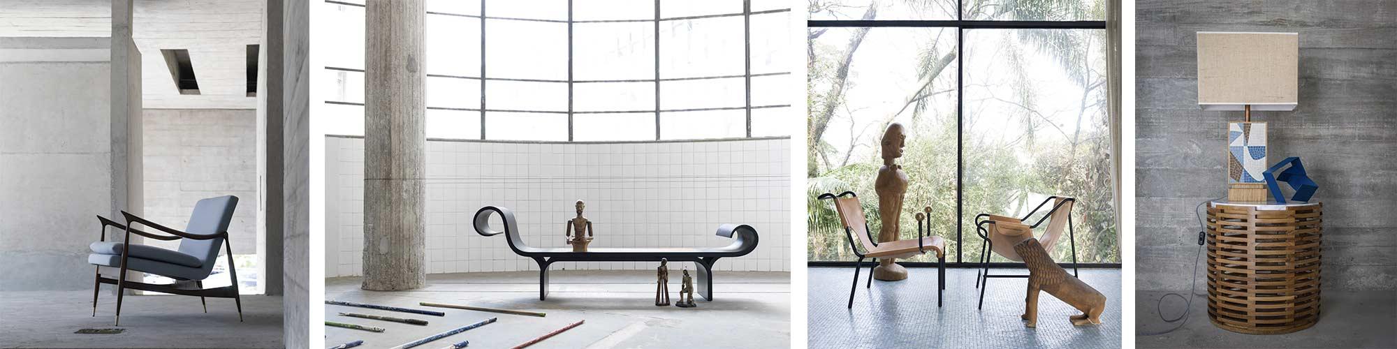 Mestres Modernos Brasileiros na Semana de Design. Obras de Jorge Zalszupin, Lina Bo Bardi, Oscar Niemeyer e Paulo Werneck