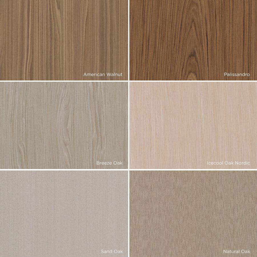 Padrões de lâminas de madeira Alpi / Sayerlack: Natural Oak, Sand Oak, Nordic, American Walnut, Breeze Oak e Palissandro