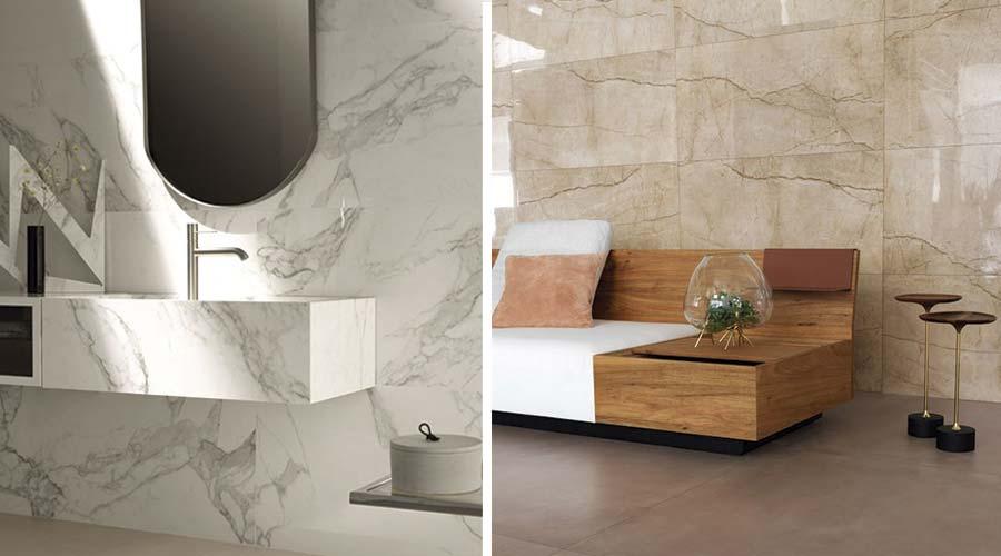 A Portobello foi outra companhia a destacar o mármore com as linhas Bianco di Elba e Nocce Savanna, na feira Expo Revestir 2018