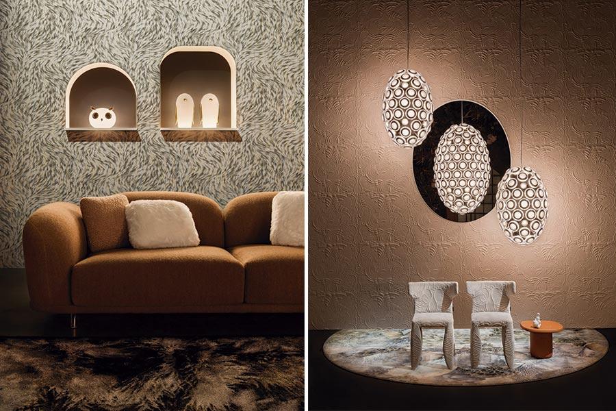 Produtos lançados pela Moooi incluem móveis, tecidos, revestimentos de parede, tapetes e luminárias