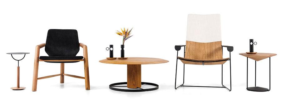 Em desenhos que refletem quietude e equilíbrio, cada móvel de Vinicius Siega para a Carbono é um hibrido que conversa com o minimal, zen e lounge