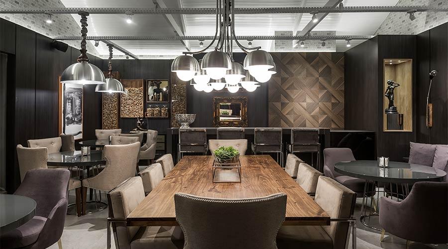 Arquiteto Eduardo Mourão apostou no padrão Norus para revestir as paredes do Bistrot & Bar Arauco na Casacor PR