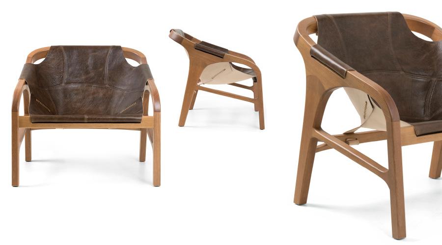 As selas de montaria foram a inspiração para a Poltrona Jóquei, da designer Rejane Carvalho Leite