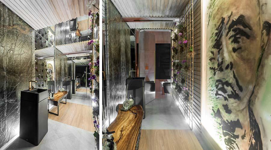 Lavabo Essencial, de Priscila Mileke e Laryssa Rocha, na Casacor PR. Projeto aposta nos painéis de madeira no padrão madeirado Savana, da Guararapes