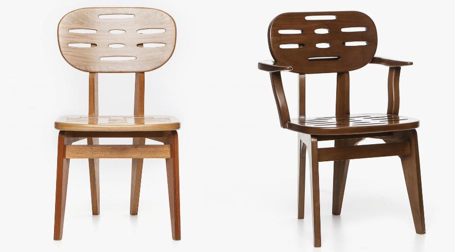 Cadeira Flórida, de Estevão Toledo, está disponível em versões com ou sem braço, em madeira ebanizada ou tonalizada
